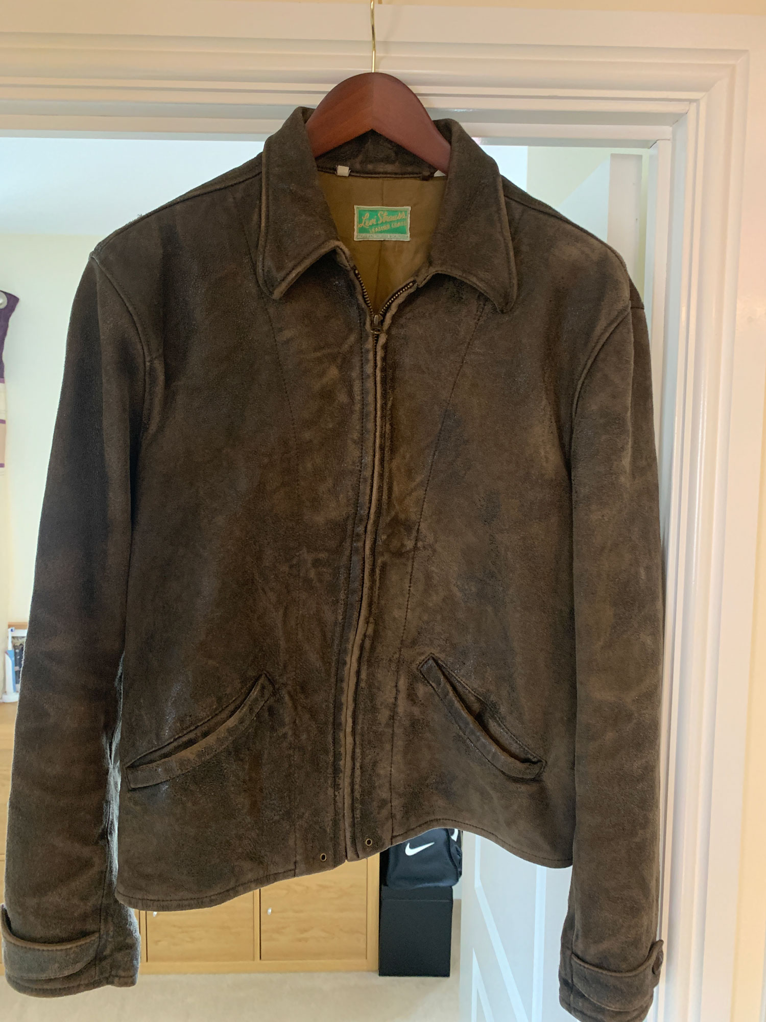Leather Jacket from Skyfall on a hanger