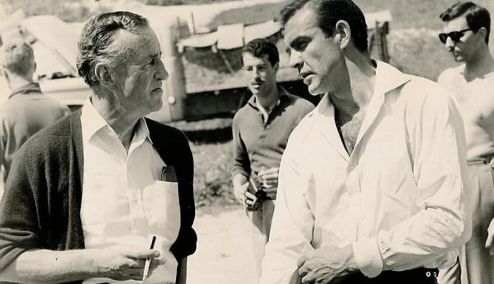 Ian Fleming and sean connery on set