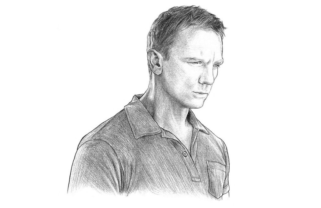 daniel craig drawing wearing sunspel