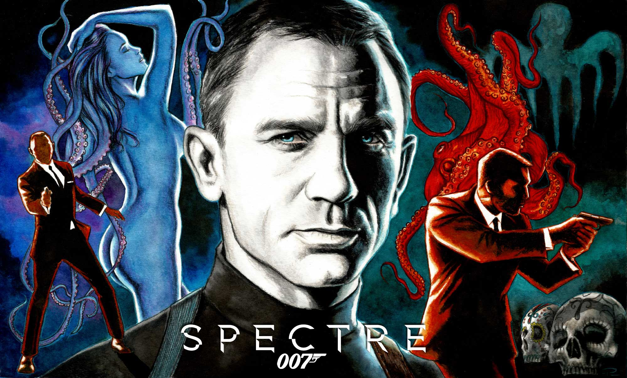 spectre fan art work James Bond illustrations