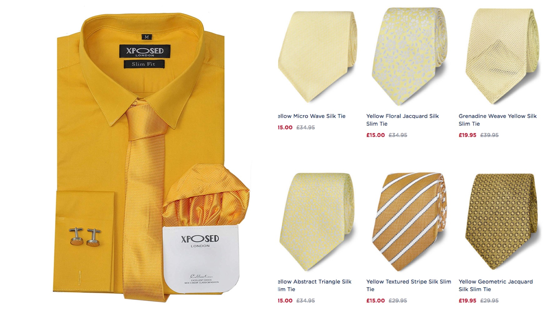 cheap yellow ties