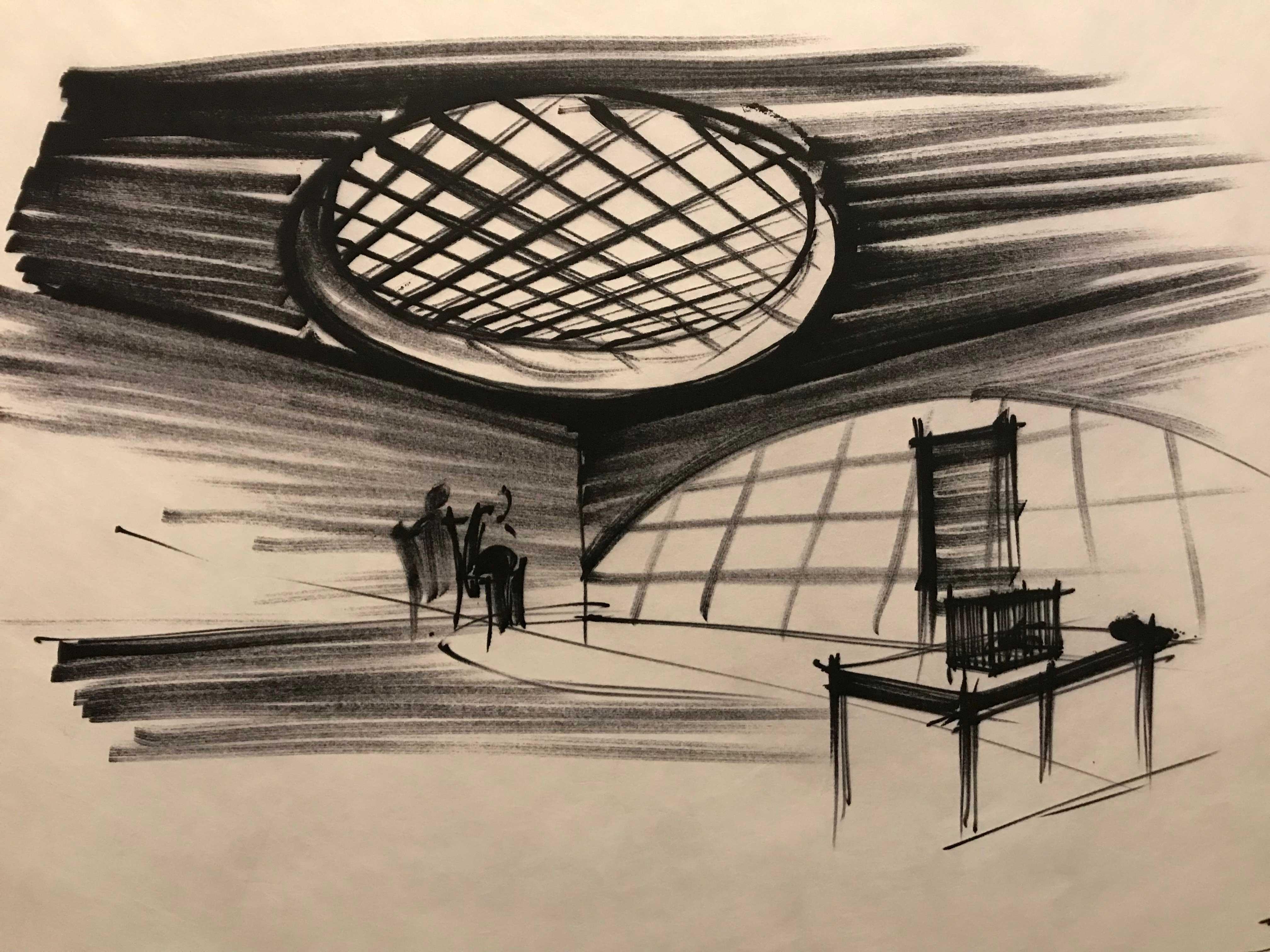 ken adam set design illustration