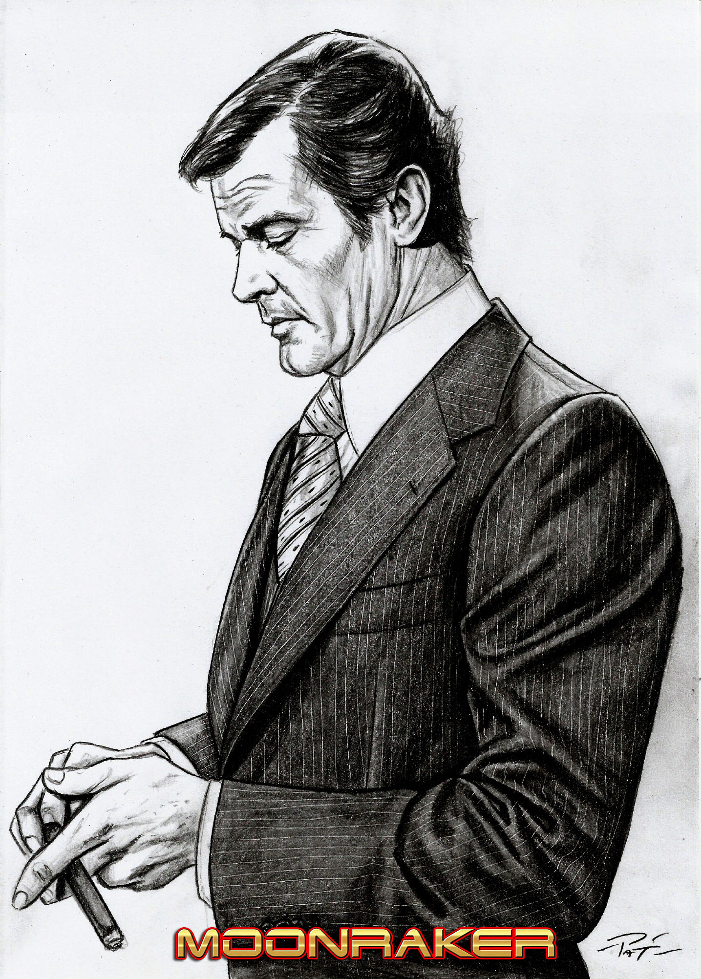 roger moore pencil drawing