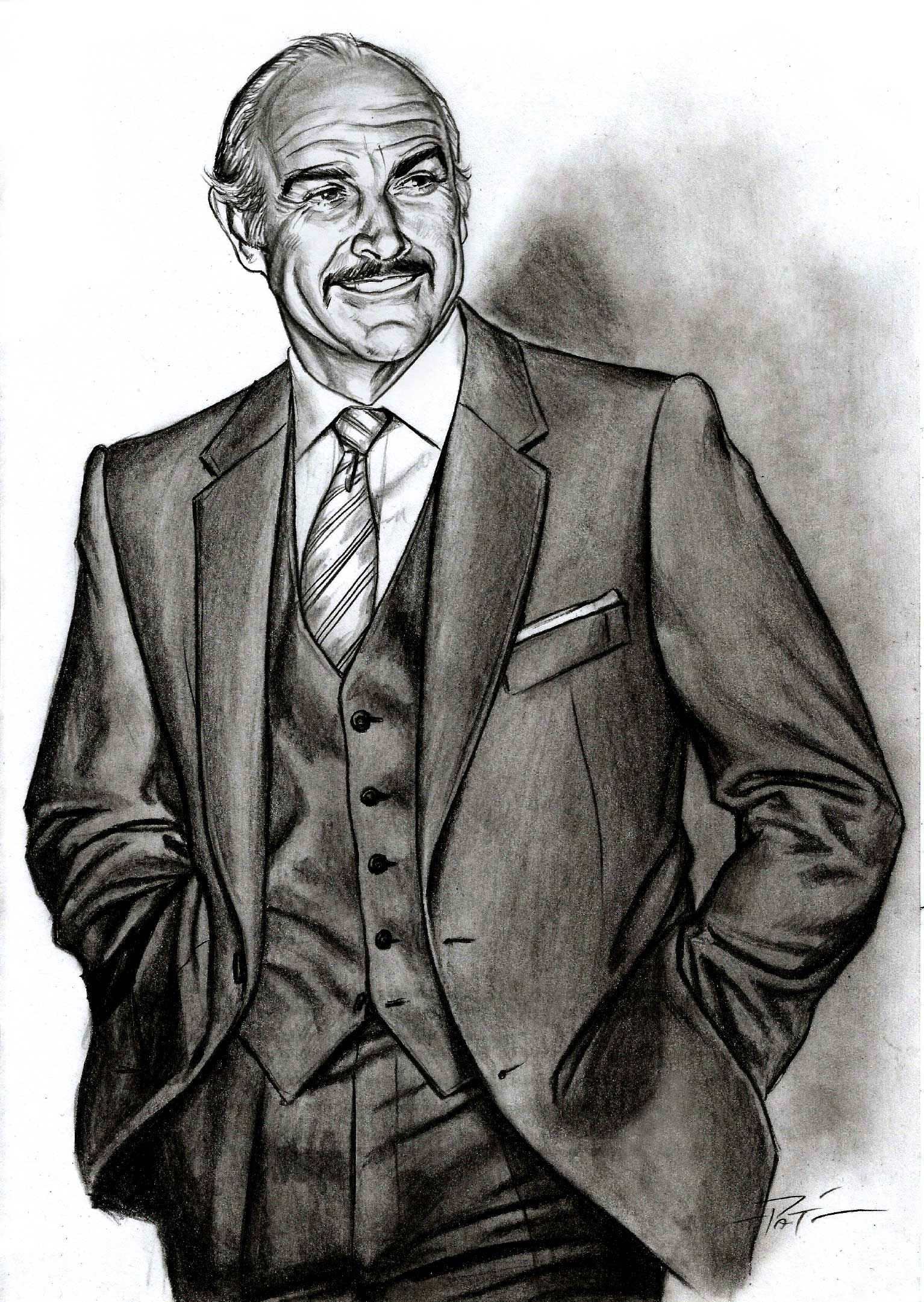 sean connery pencil sketch