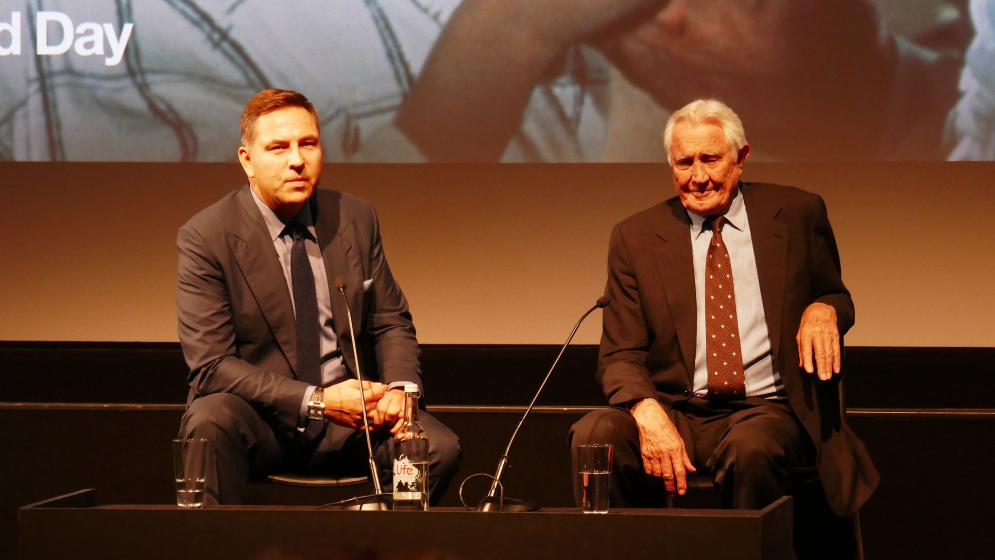 George Lazenby and David Walliams at the BFI
