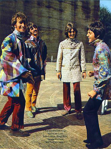 The Beatles in psychedelic clothes