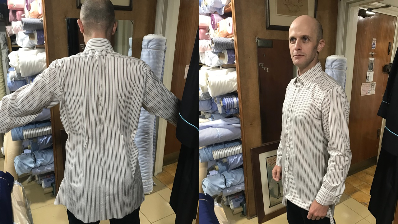Getting fitted for a bespoke shirt