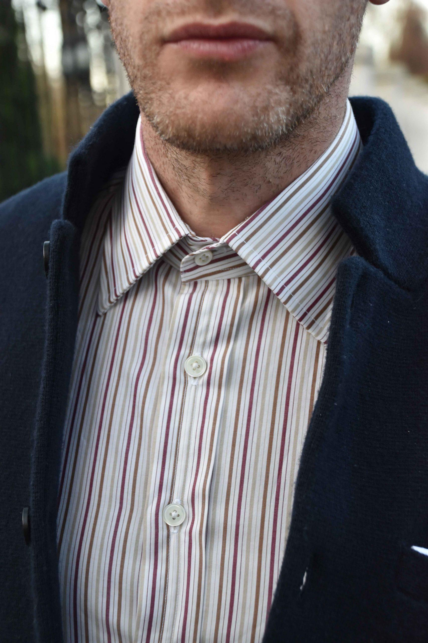 Frank Foster Collar bespoke shirt close up