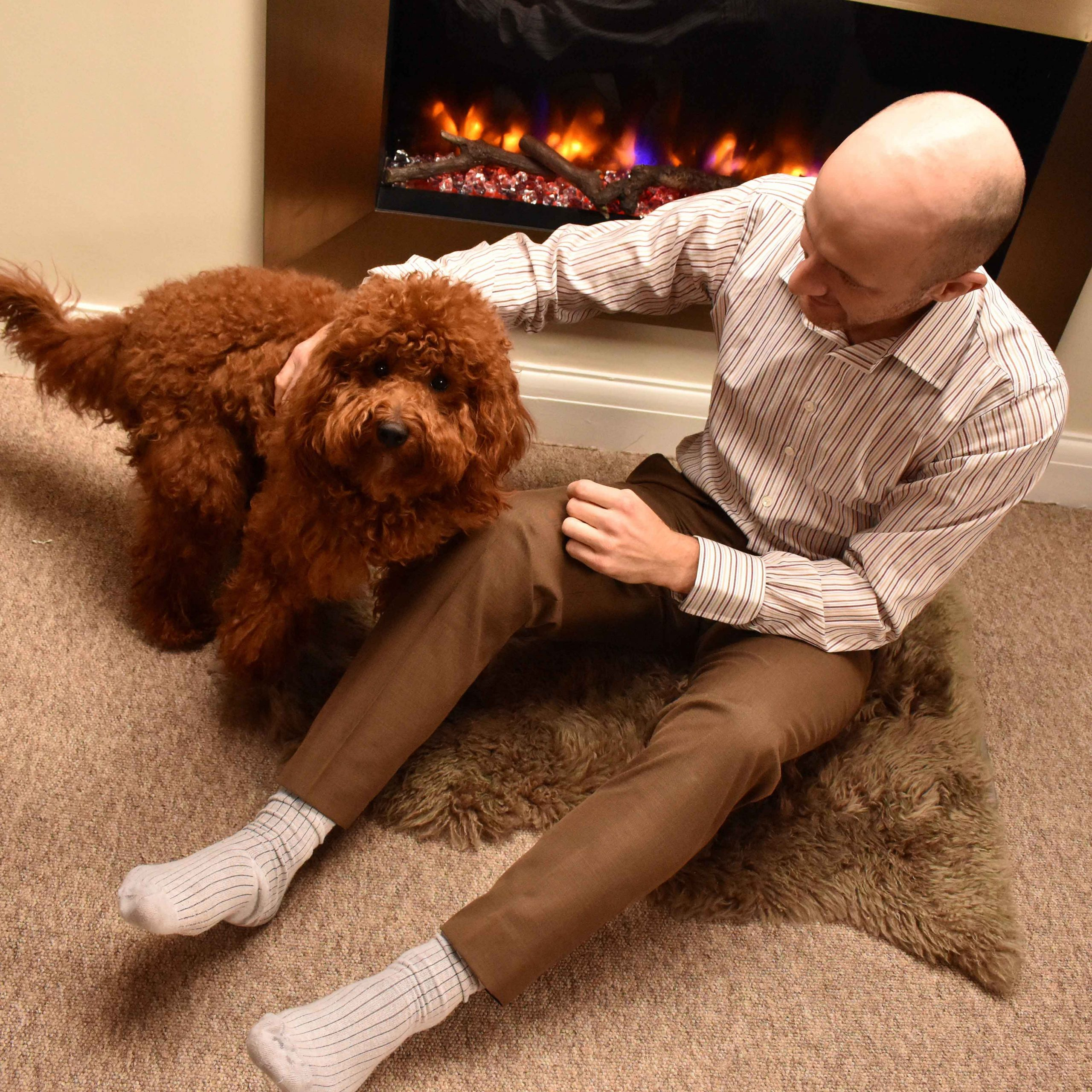 Frank Foster shirt posing in front of fireplace with roger the cockapoo