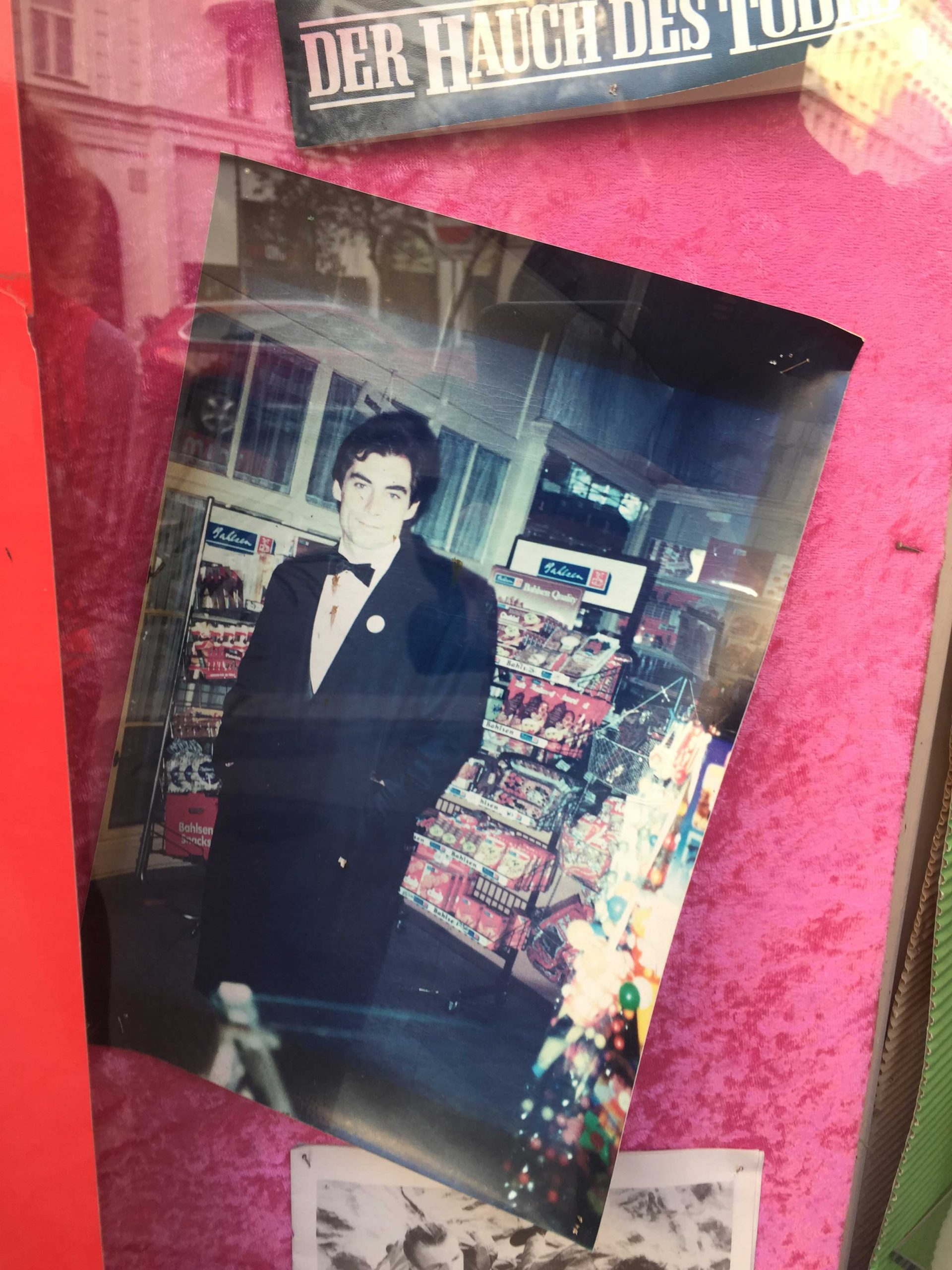 Old photo of timothy dalton in shop window Vienna The Living Daylights
