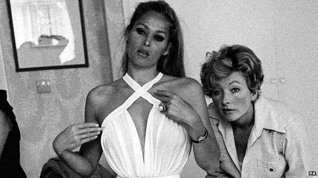 Ursula Andress and Julie Harris during filming of Casino Royale '67