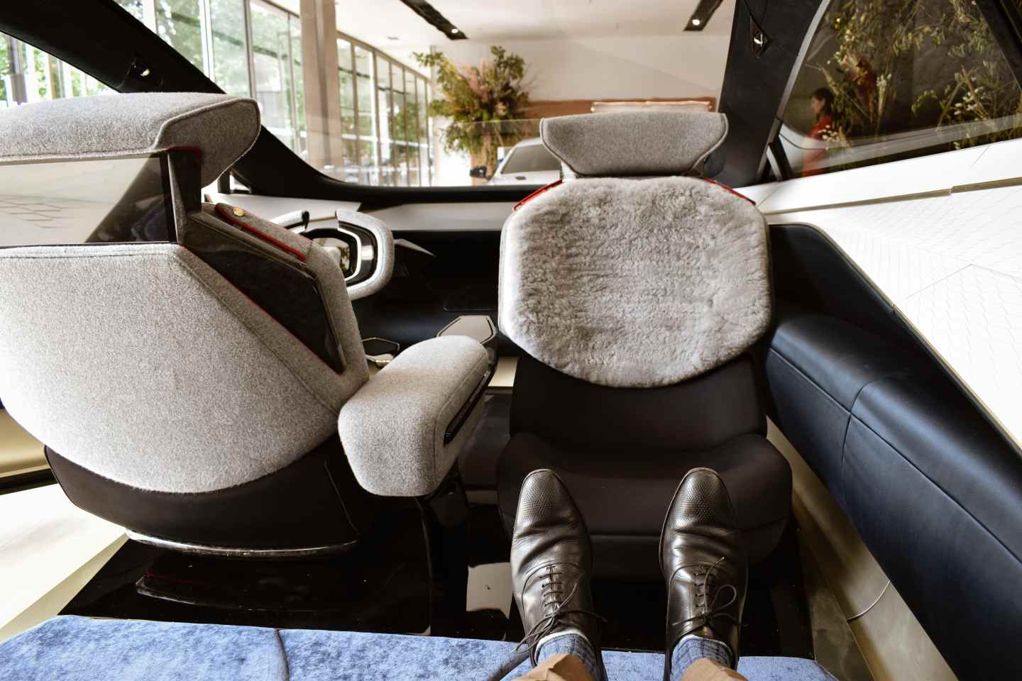 luxury car of the future feet up