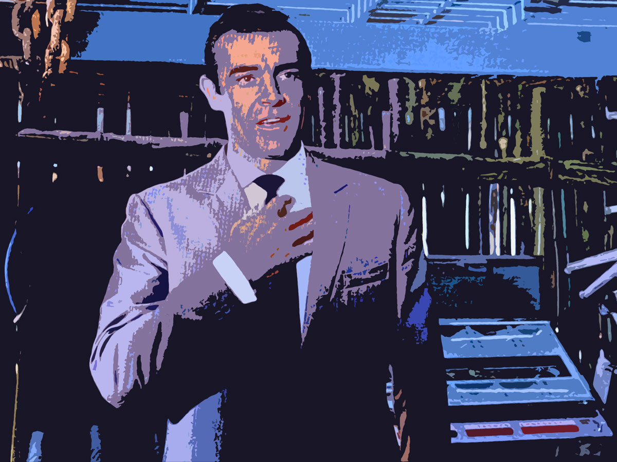 fan art sean connery dr No. wearing a Anthony Sinclair suit