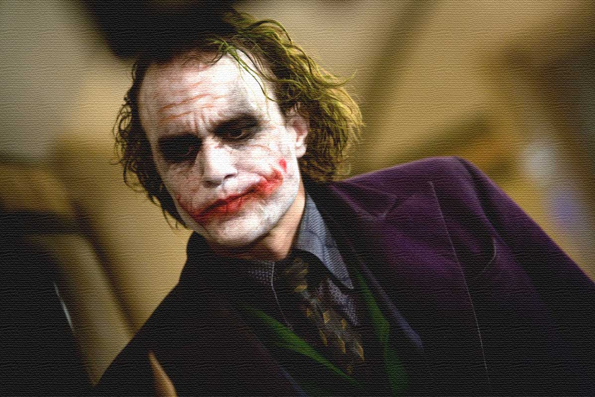 iconic men's ties in movie heath ledger as joker staring off camera