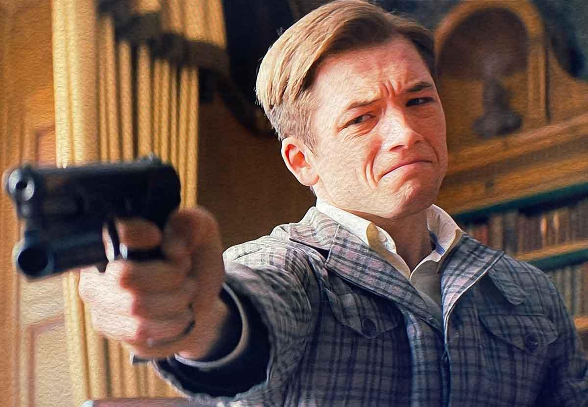 taron egerton kingsman pointing gun