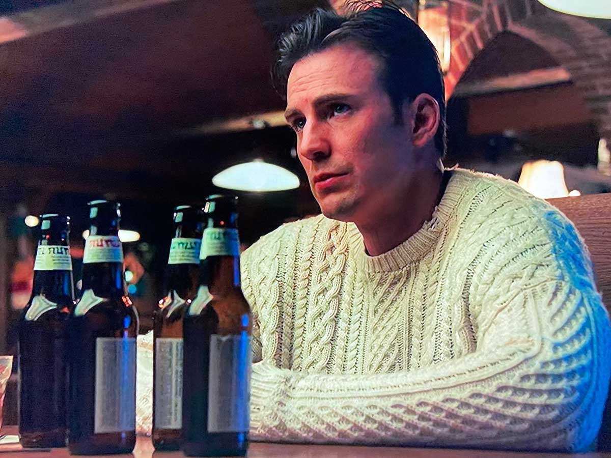 knives out chris evans sexy white sweater