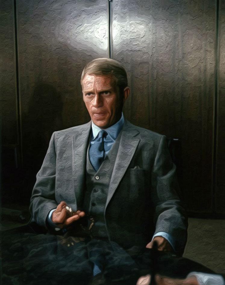 men's ties steve mcqueen thomas crown affair sitting in a three piece suit