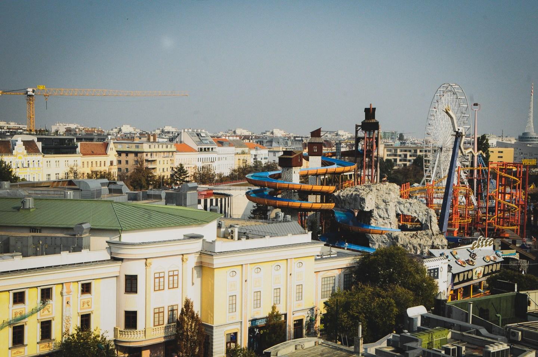 view from Wiener Riesenrad Ferris Wheel