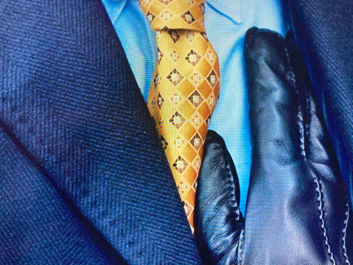 gold check patterned tie
