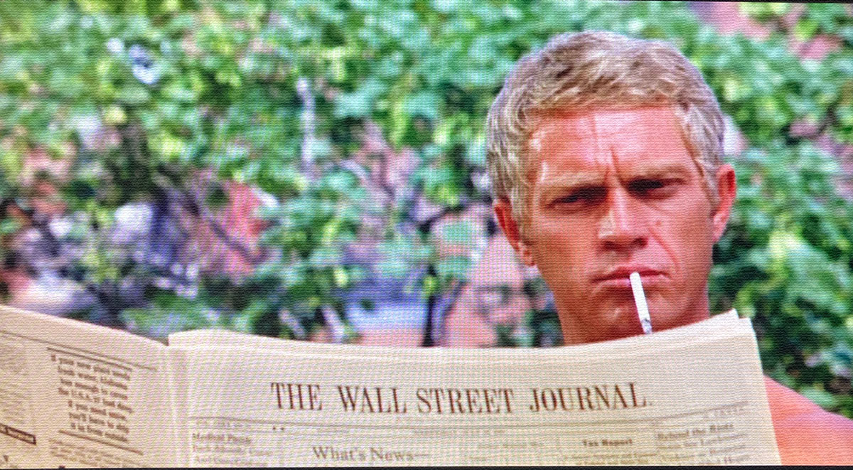 The Thomas Crown Affair mcqueen reading the wall street jounral