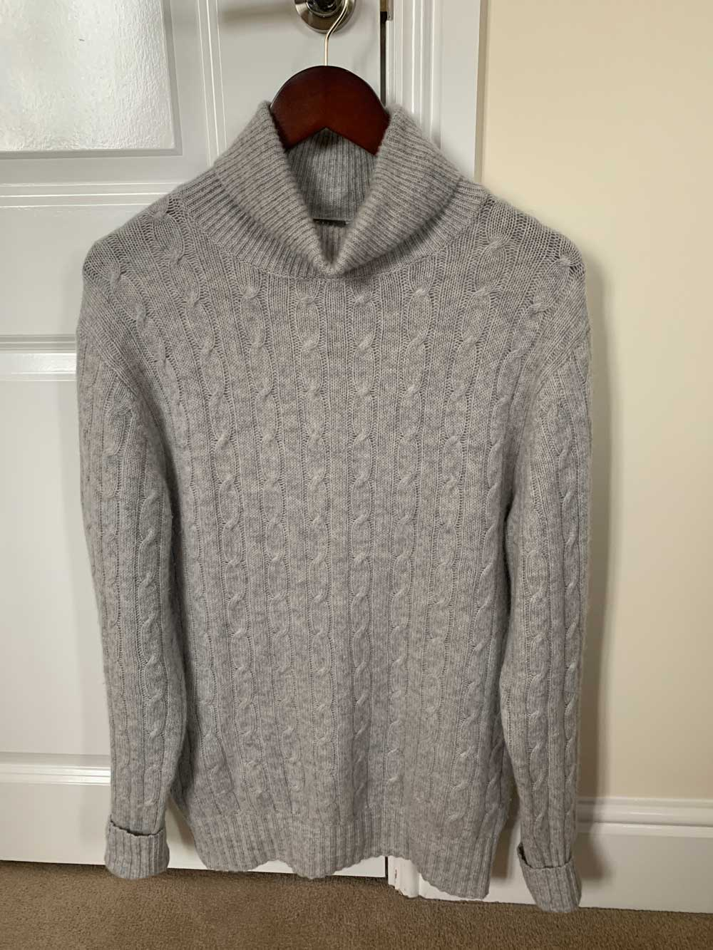 Roll Neck Cashmere Sweater grey mens