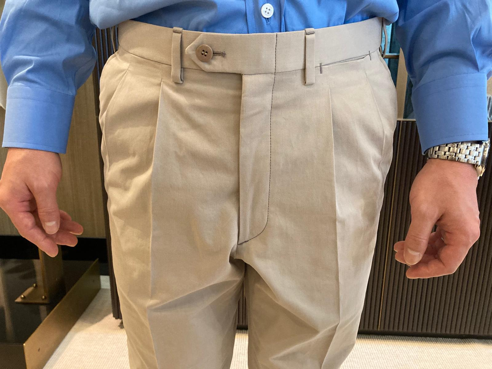 Bespoke Trousers front pleats and closures