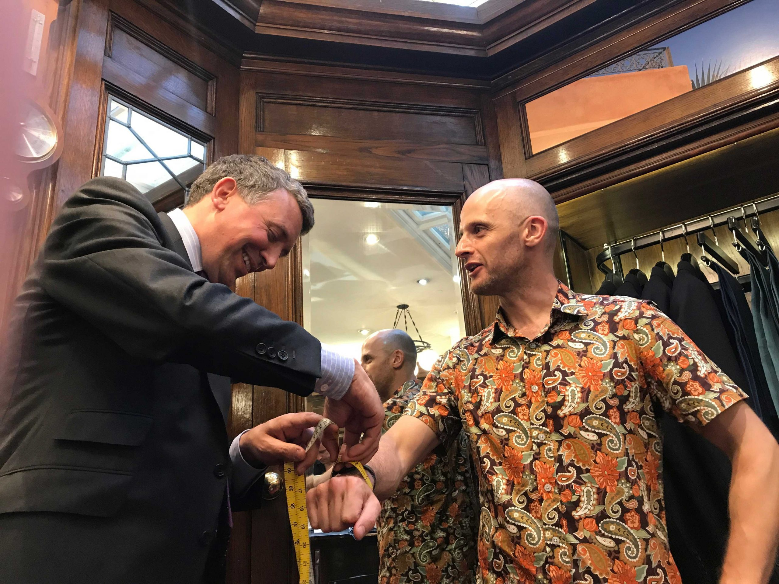 bespoke shirts being measured at Turnbull and asser