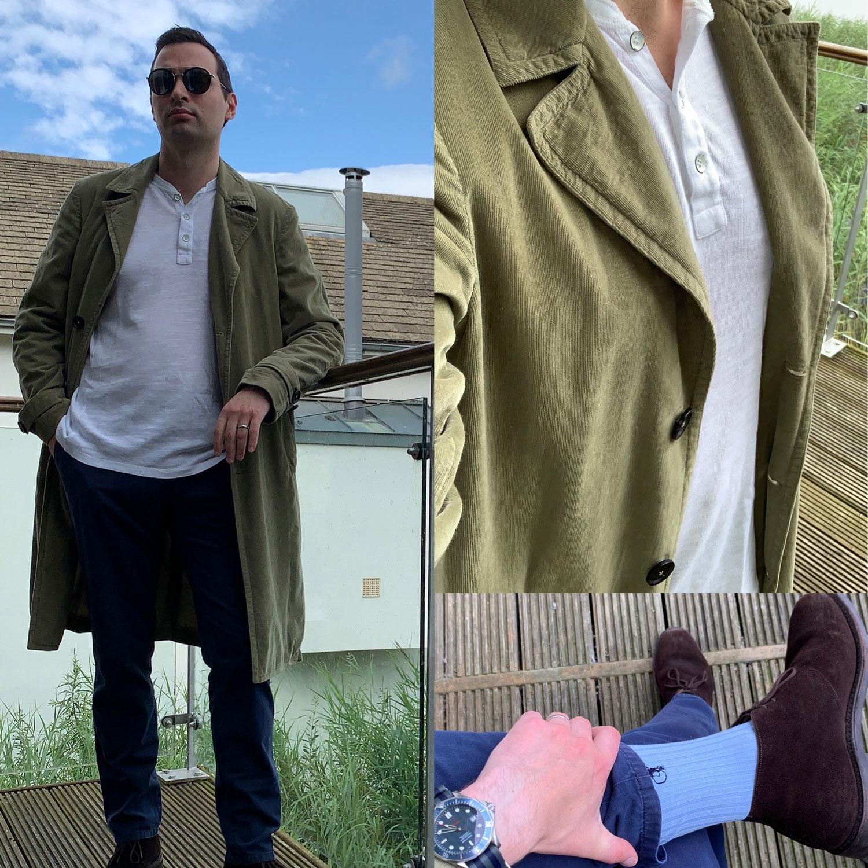 Daniel Gaster wearing the Rag & Bone henley with duster jacket