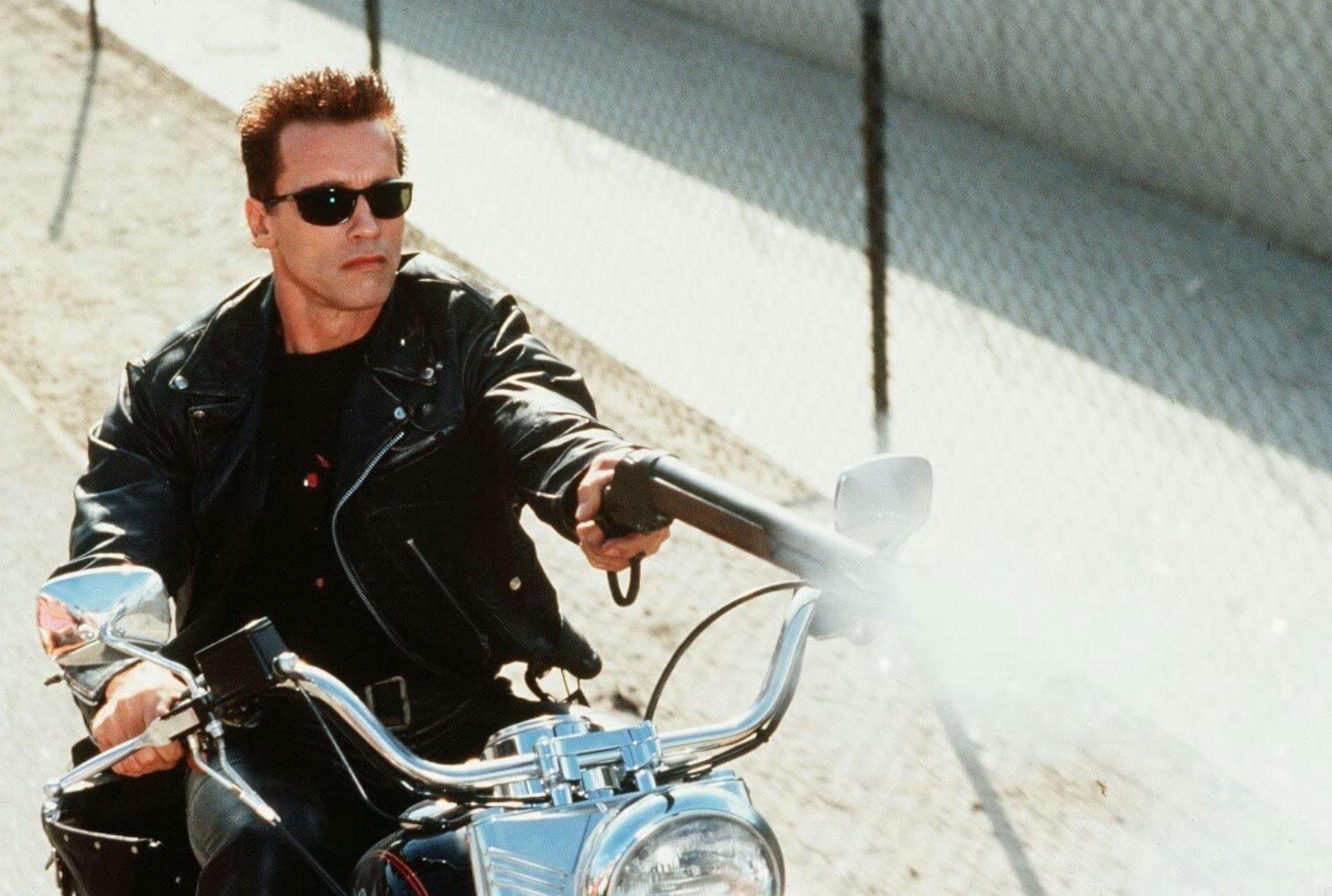 Terminator Jackets t2 arnie on a bike
