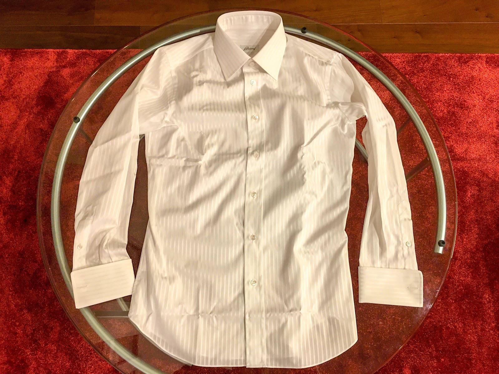 Brioni shirt striped flatlay
