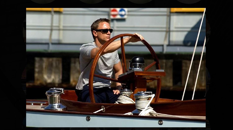 Persol Sunglasses on Daniel Craig steering a boat