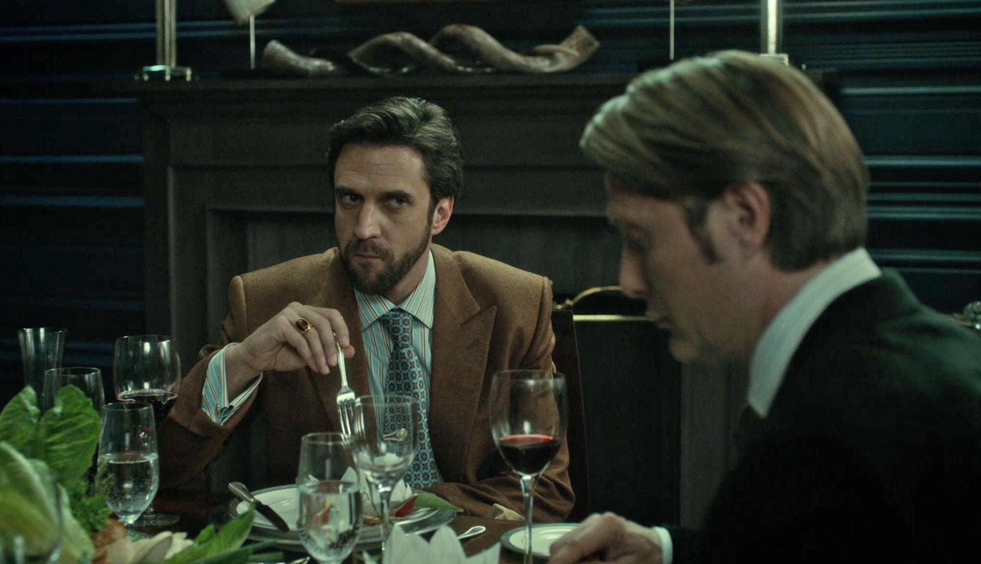 Double Breasted Camel Blazer Dr Chiltern studies Hannibal over dinner