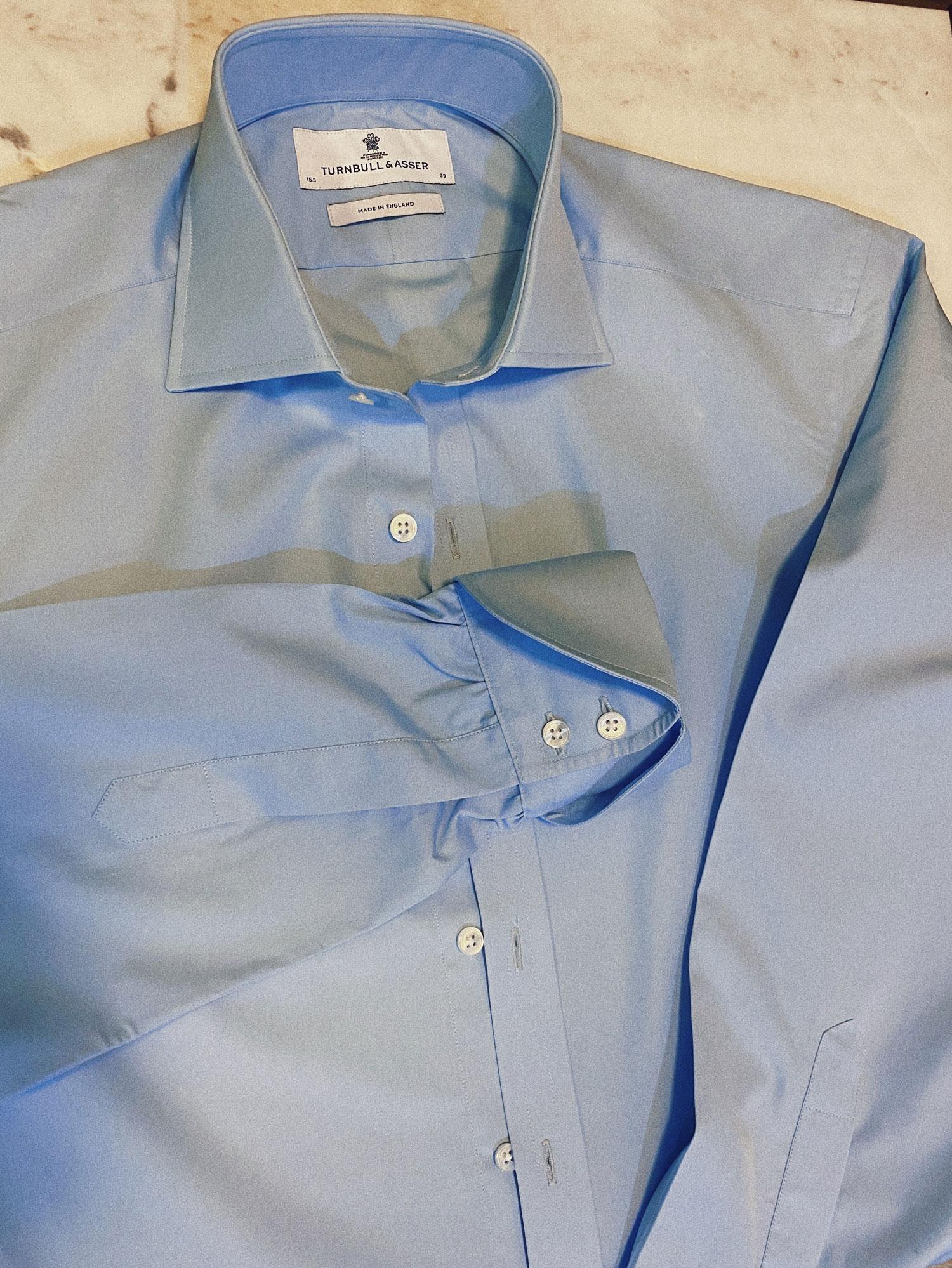 Cocktail Cuffs Turnbull & Asser shirt blue cotton flat lay