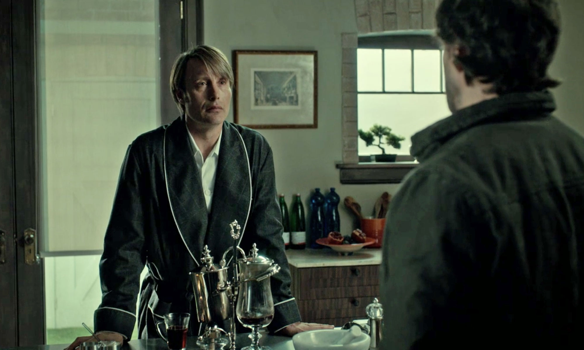 Christopher Hargadon costumes worn by Mads Mikkelsen wearing a robe in Hannibal