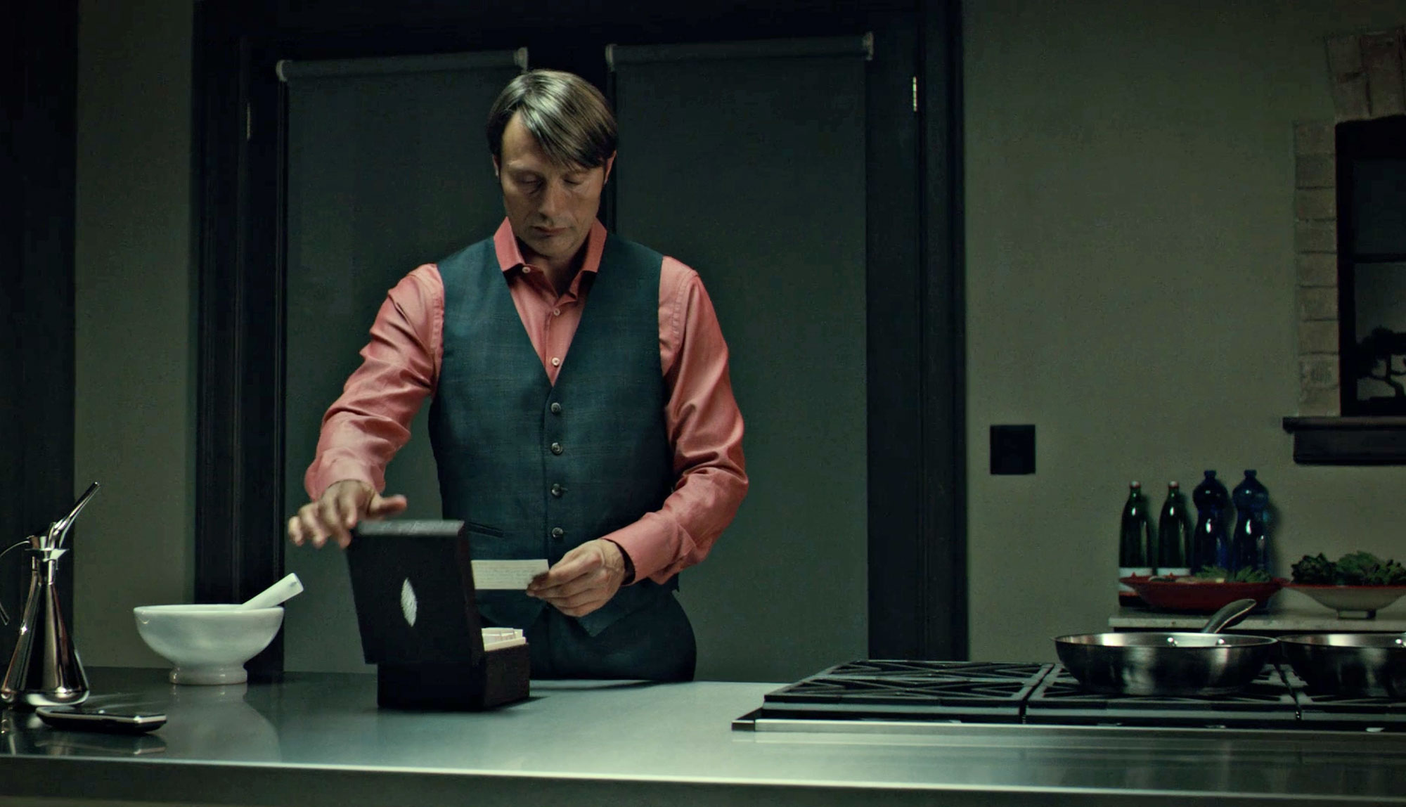 Christopher Hargadon dresses Mads Mikkelsen in a pink shirt and waistcoat