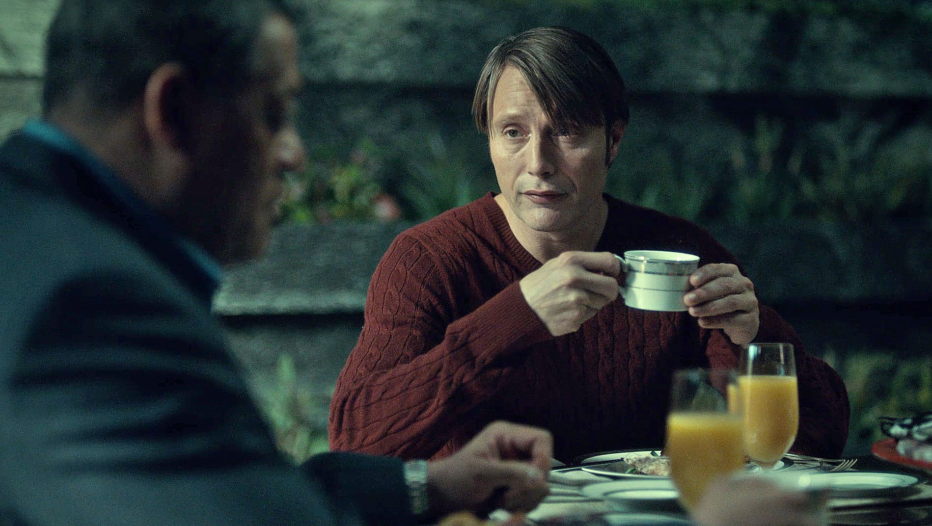 Cable Knit Sweater Hannibal at breakfast looking at Jack