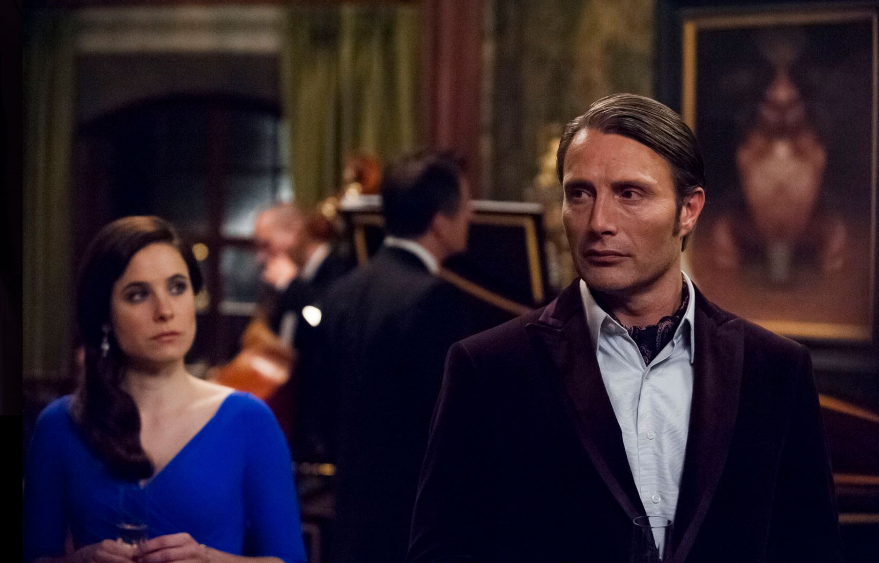 Hannibal in a velvet dinner jacket and Dr Alana Bloom