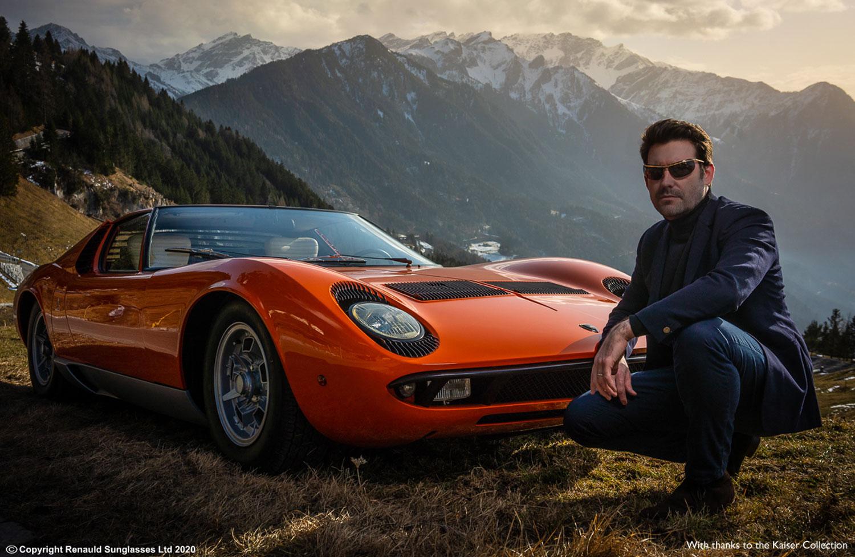 Renauld sunglasses worn in the alps in front of a Lamborghini