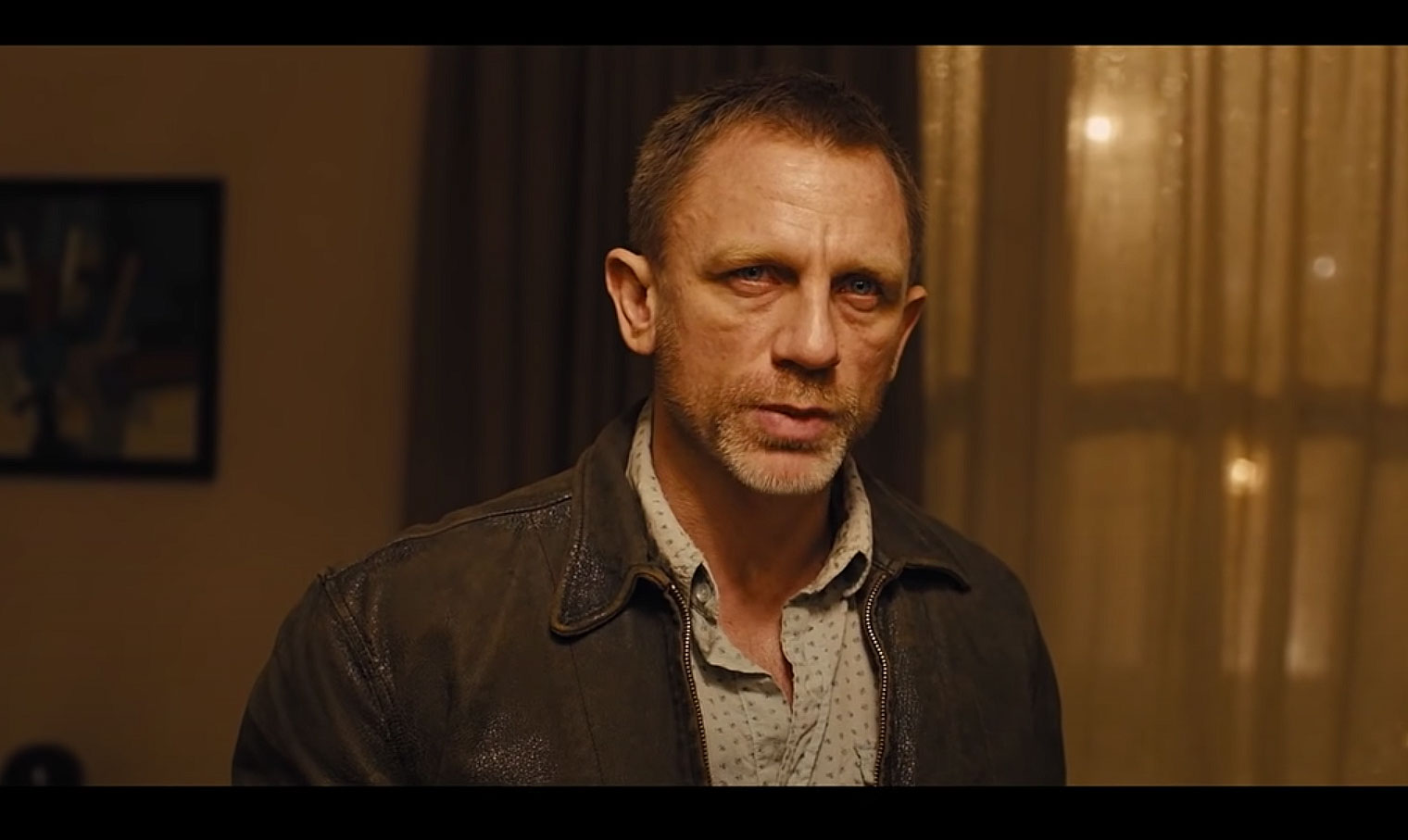 Daniel Craig wearing the Leather Jacket from Skyfall