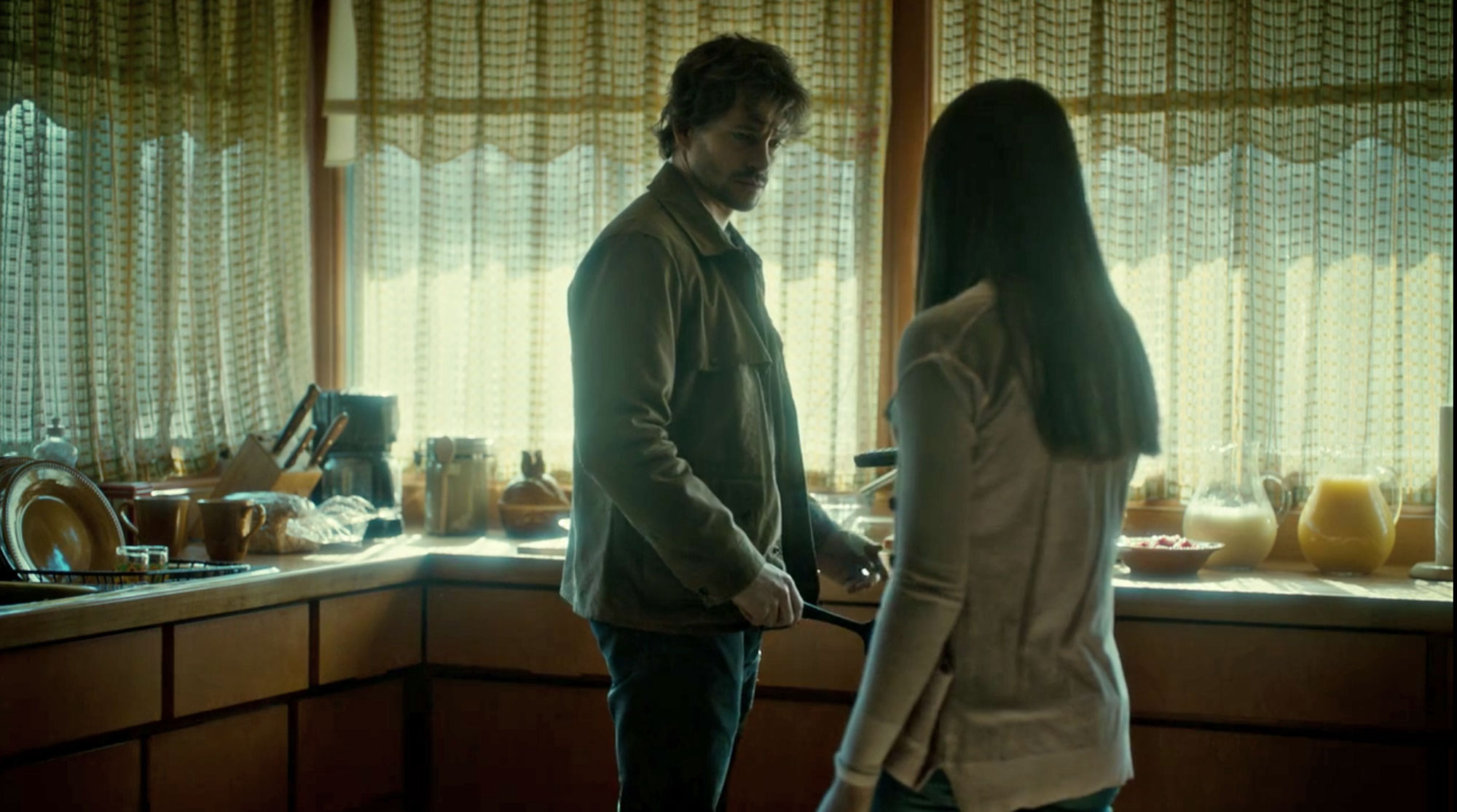 Waxed Cotton Jacket kitchen final scene with Hannibal